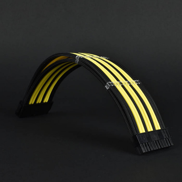 Premium PSU braided custom cable extension boxed set Black yellow