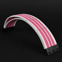 Premium PSU braided custom cable extension boxed set Pink white