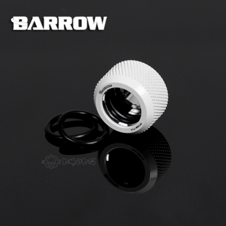 White Barrow Compression Fitting - OD: 14mm Rigid Tubing - Barrow Watercooling