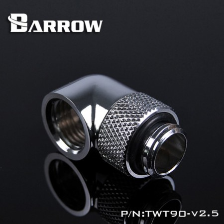 "Barrow G1/4"" 90 Degree Rotary Adaptor Fitting - Silver - Barrow Watercooling"
