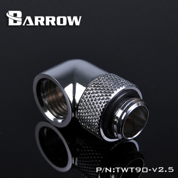 "Barrow G1/4"" 90 Degree Rotary Adaptor Fitting - Silver - Barrow Watercooling TWT90-v2.5"