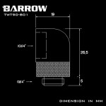"Barrow G1/4"" 90 Degree Rotary Adaptor Fitting - White - Barrow Watercooling"